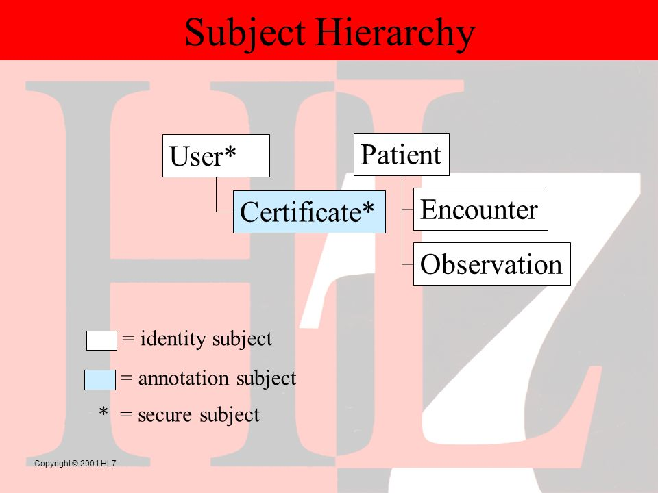 Copyright © 2001 HL7 Subject Hierarchy User* Patient Encounter Observation Certificate* * = secure subject = identity subject = annotation subject