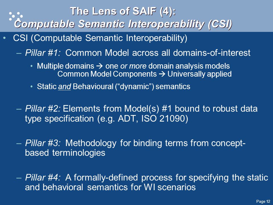 Page 12 The Lens of SAIF (4): Computable Semantic Interoperability (CSI) CSI (Computable Semantic Interoperability) –Pillar #1: Common Model across all domains-of-interest Multiple domains  one or more domain analysis models Common Model Components  Universally applied Static and Behavioural ( dynamic ) semantics –Pillar #2: Elements from Model(s) #1 bound to robust data type specification (e.g.