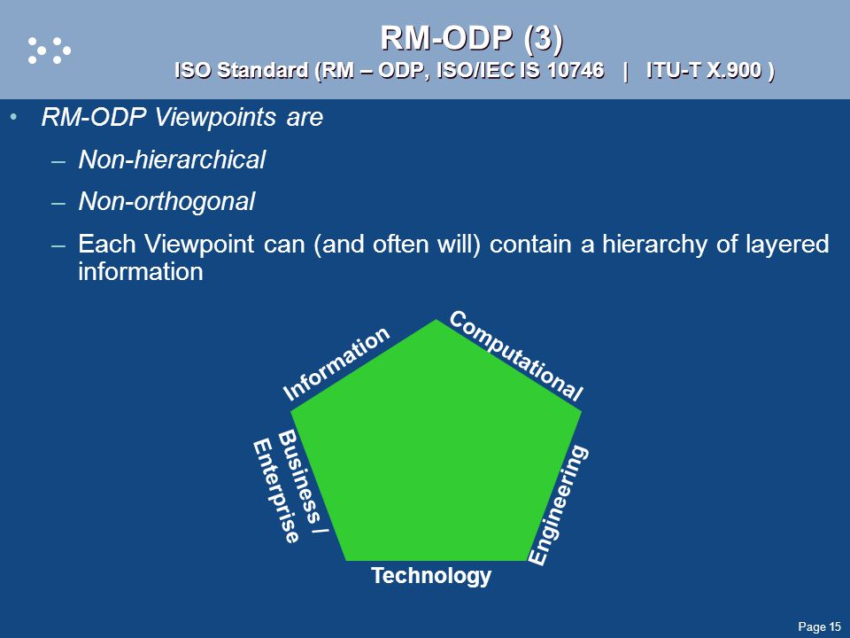 Page 15 RM-ODP (3) ISO Standard (RM – ODP, ISO/IEC IS 10746 | ITU-T X.900 ) RM-ODP Viewpoints are –Non-hierarchical –Non-orthogonal –Each Viewpoint can (and often will) contain a hierarchy of layered information Information Business / Enterprise Computational Engineering Technology