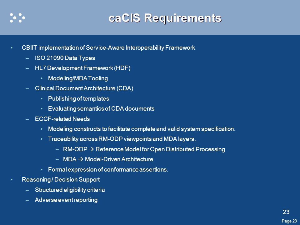 Page 23 caCIS Requirements CBIIT implementation of Service-Aware Interoperability Framework –ISO 21090 Data Types –HL7 Development Framework (HDF) Modeling/MDA Tooling –Clinical Document Architecture (CDA) Publishing of templates Evaluating semantics of CDA documents –ECCF-related Needs Modeling constructs to facilitate complete and valid system specification.