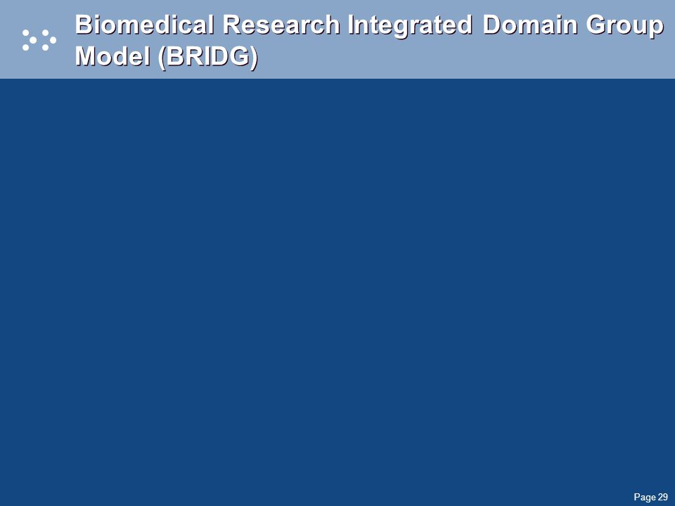 Page 29 Biomedical Research Integrated Domain Group Model (BRIDG)