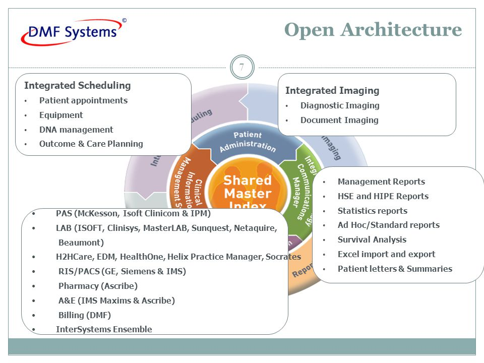Open Architecture 7 Integrated Scheduling Patient appointments Equipment DNA management Outcome & Care Planning Management Reports HSE and HIPE Reports Statistics reports Ad Hoc/Standard reports Survival Analysis Excel import and export Patient letters & Summaries PAS (McKesson, Isoft Clinicom & IPM) LAB (ISOFT, Clinisys, MasterLAB, Sunquest, Netaquire, Beaumont) H2HCare, EDM, HealthOne, Helix Practice Manager, Socrates RIS/PACS (GE, Siemens & IMS) Pharmacy (Ascribe) A&E (IMS Maxims & Ascribe) Billing (DMF) InterSystems Ensemble Integrated Imaging Diagnostic Imaging Document Imaging