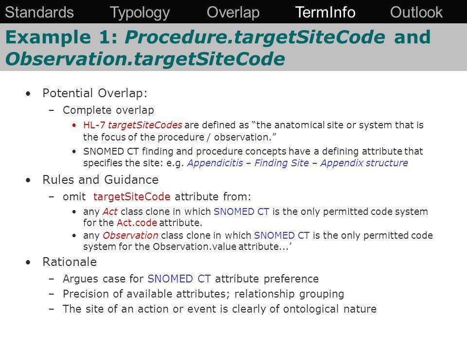 Potential Overlap: –Complete overlap HL-7 targetSiteCodes are defined as the anatomical site or system that is the focus of the procedure / observation. SNOMED CT finding and procedure concepts have a defining attribute that specifies the site: e.g.
