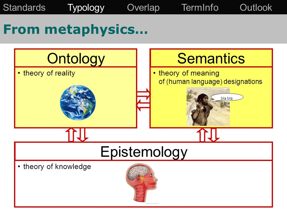 From metaphysics… theory of realitytheory of meaning of (human language) designations theory of knowledge OntologySemantics Epistemology bla bla bla Standards Typology Overlap TermInfo Outlook