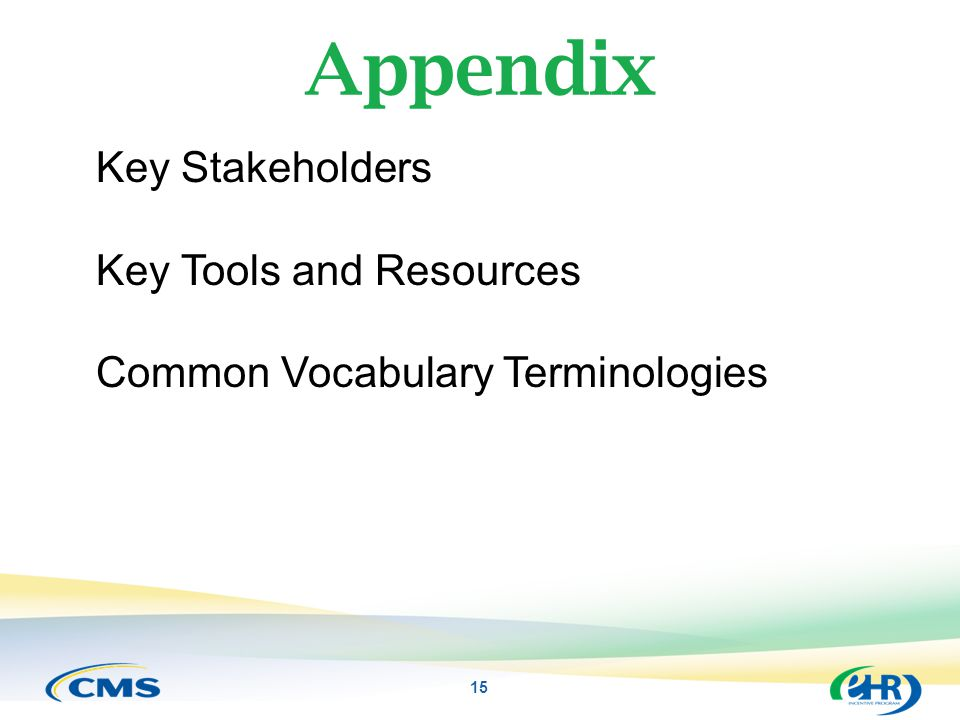 Appendix 15 Key Stakeholders Key Tools and Resources Common Vocabulary Terminologies