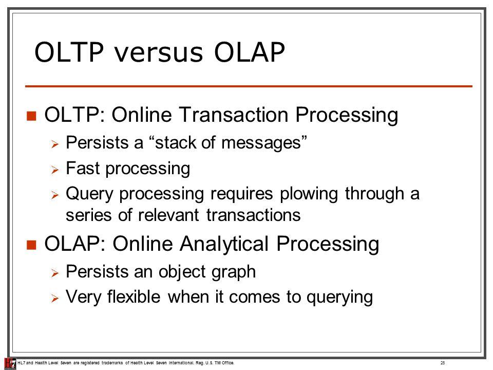 HL7 and Health Level Seven are registered trademarks of Health Level Seven International. Reg. U.S. TM Office. OLTP versus OLAP OLTP: Online Transacti