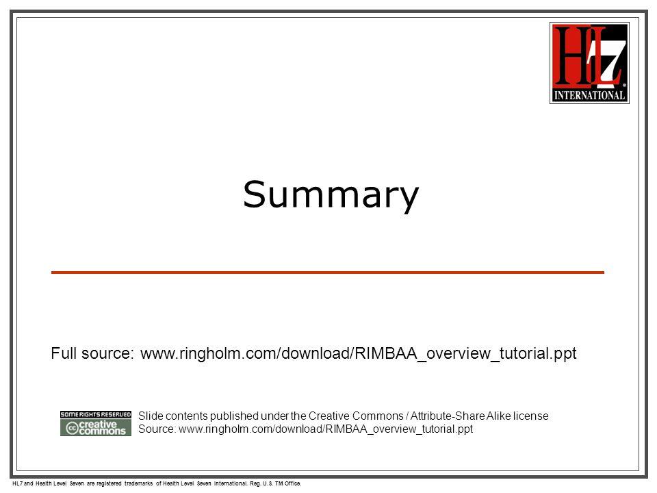 HL7 and Health Level Seven are registered trademarks of Health Level Seven International. Reg. U.S. TM Office. Summary Slide contents published under
