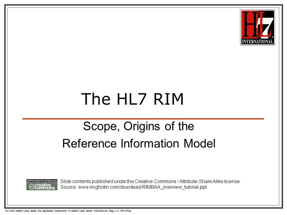 HL7 and Health Level Seven are registered trademarks of Health Level Seven International. Reg. U.S. TM Office. Scope, Origins of the Reference Informa
