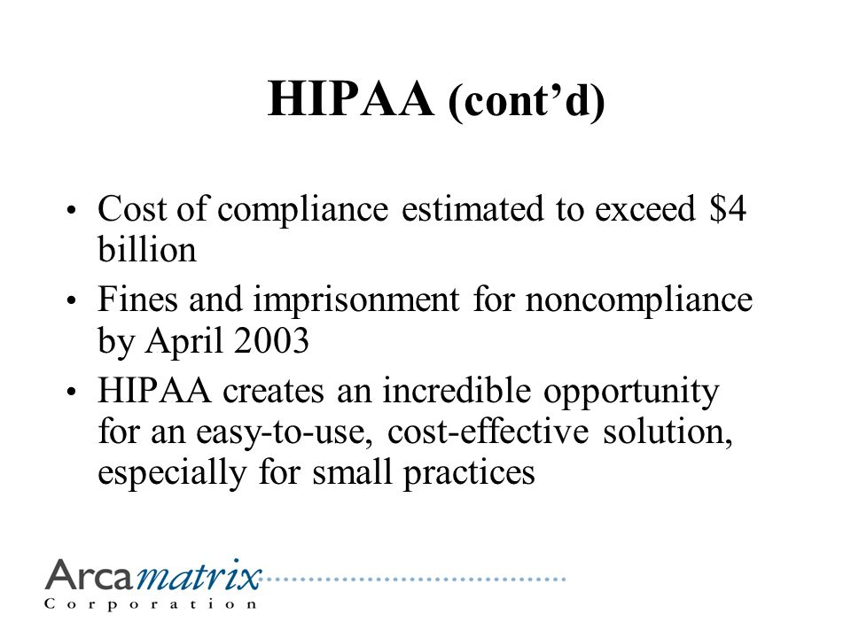 HIPAA (cont'd) Cost of compliance estimated to exceed $4 billion Fines and imprisonment for noncompliance by April 2003 HIPAA creates an incredible opportunity for an easy-to-use, cost-effective solution, especially for small practices