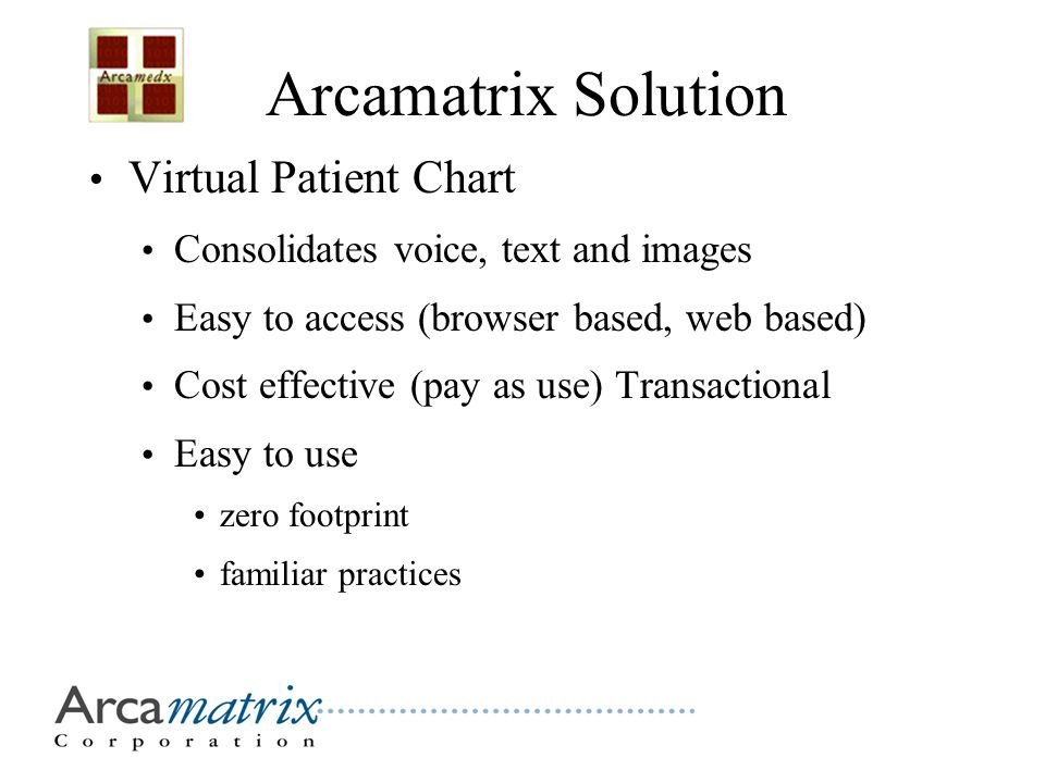 Arcamatrix Solution Virtual Patient Chart Consolidates voice, text and images Easy to access (browser based, web based) Cost effective (pay as use) Transactional Easy to use zero footprint familiar practices