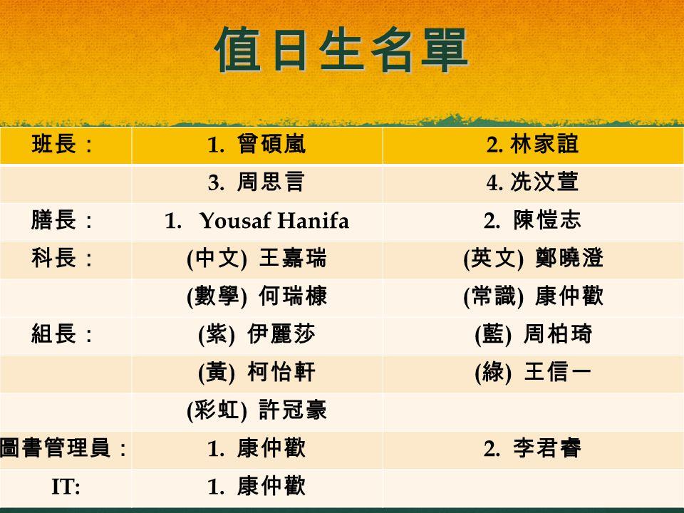 值日生名單 2015/4/129 班長: 1.曾碩嵐 2. 林家誼 3. 周思言 4. 冼汶萱 膳長: 1.