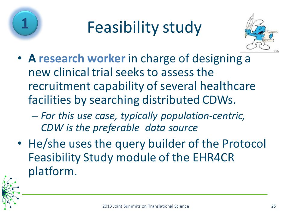 Feasibility study A research worker in charge of designing a new clinical trial seeks to assess the recruitment capability of several healthcare facilities by searching distributed CDWs.