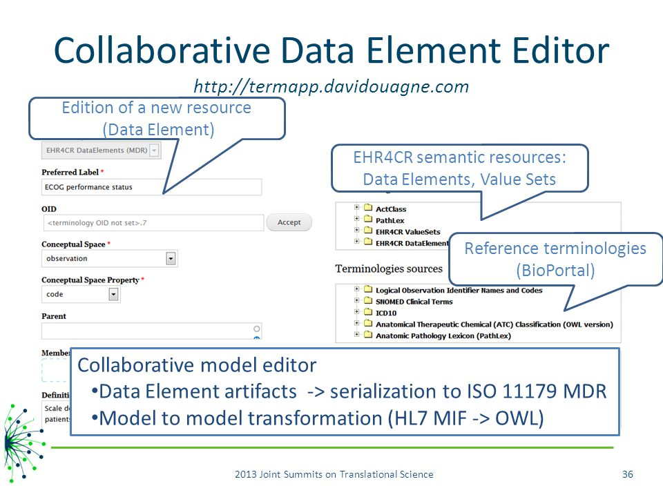 Collaborative Data Element Editor http://termapp.davidouagne.com 2013 Joint Summits on Translational Science36 EHR4CR semantic resources: Data Elements, Value Sets Reference terminologies (BioPortal) Edition of a new resource (Data Element) Collaborative model editor Data Element artifacts -> serialization to ISO 11179 MDR Model to model transformation (HL7 MIF -> OWL)