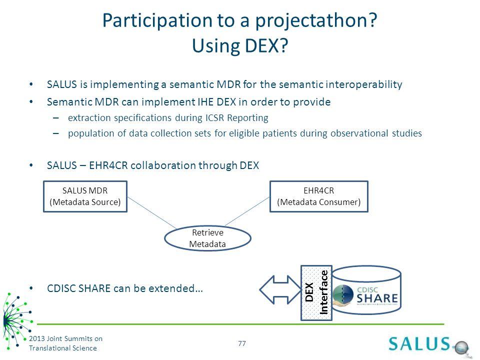 Participation to a projectathon.Using DEX.
