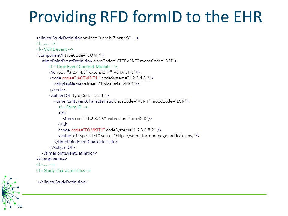 Providing RFD formID to the EHR 91