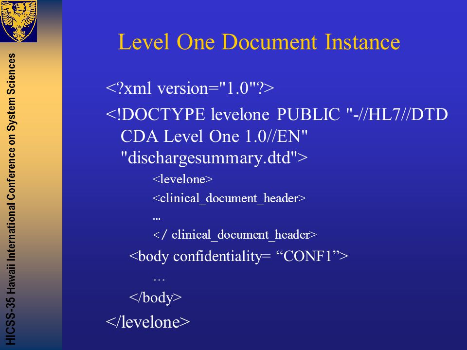 HICSS-35 Hawaii International Conference on System Sciences Level One Document Instance … …