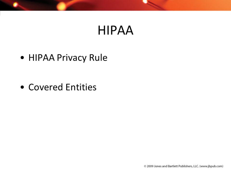 HIPAA HIPAA Privacy Rule Covered Entities