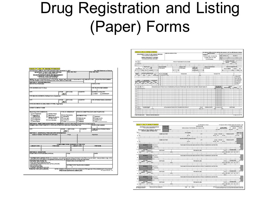 Drug Registration and Listing (Paper) Forms