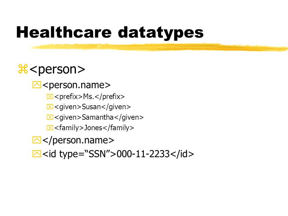 Healthcare datatypes z y x Ms. x Susan x Samantha x Jones y y 000-11-2233
