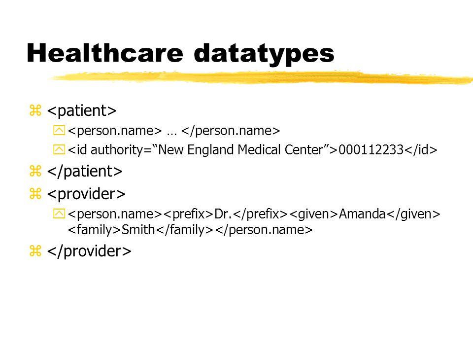 Healthcare datatypes z y … y 000112233 z y Dr. Amanda Smith z