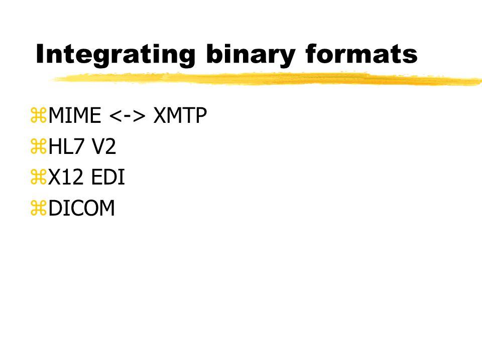 Integrating binary formats zMIME XMTP zHL7 V2 zX12 EDI zDICOM