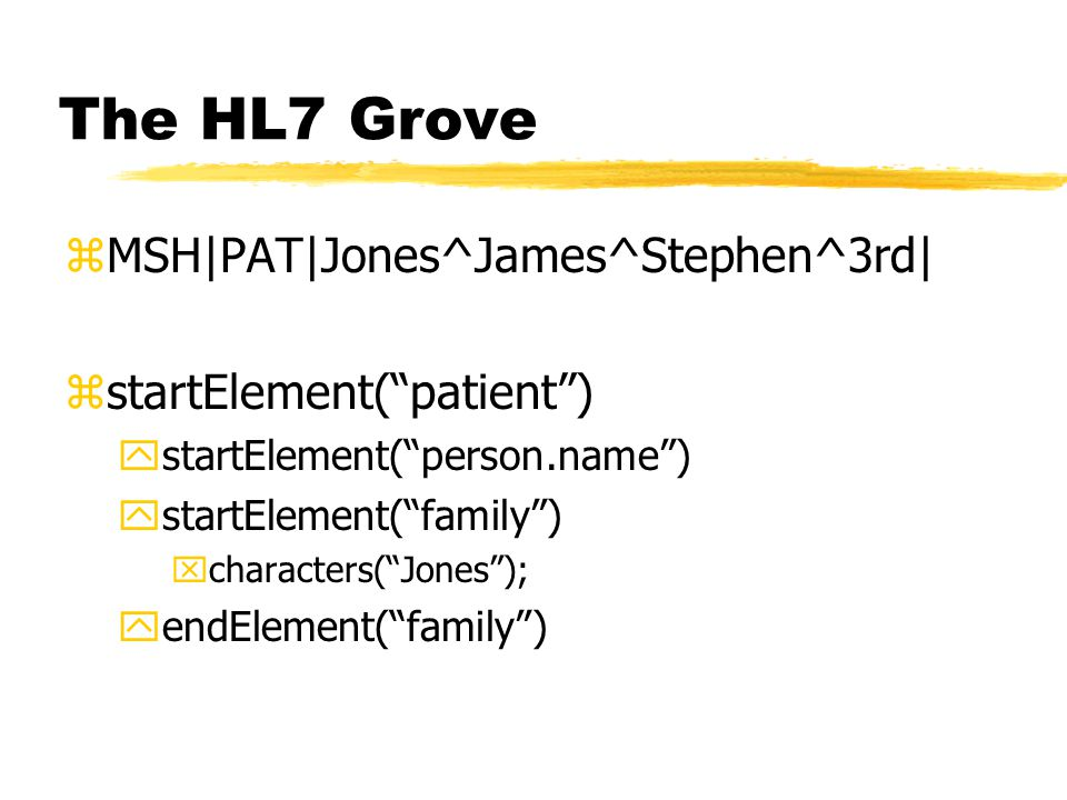 The HL7 Grove zMSH PAT Jones^James^Stephen^3rd  zstartElement( patient ) ystartElement( person.name ) ystartElement( family ) xcharacters( Jones ); yendElement( family )