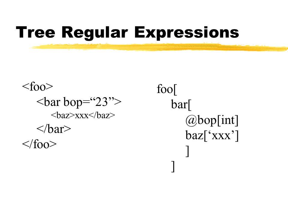 Tree Regular Expressions foo[ bar[ @bop[int] baz['xxx'] ] xxx