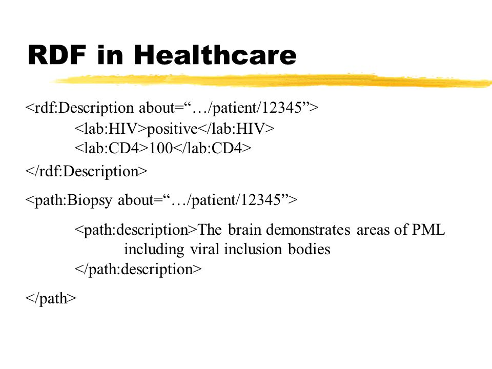 RDF in Healthcare positive 100 The brain demonstrates areas of PML including viral inclusion bodies