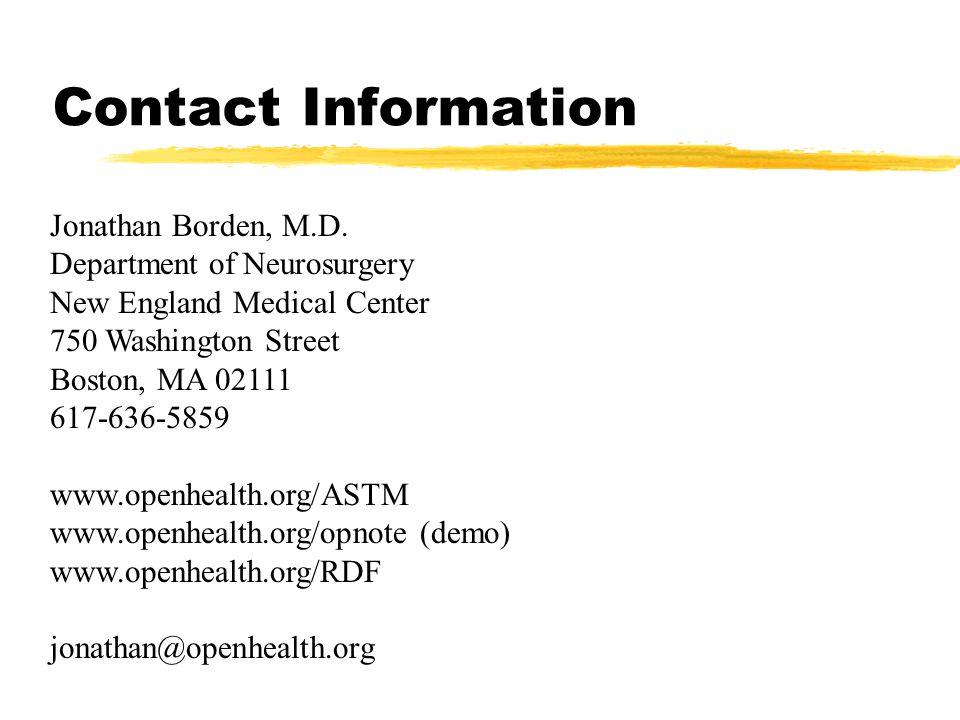 Contact Information Jonathan Borden, M.D.