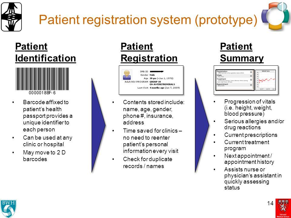 Patient registration system (prototype) 14 1 Patient Identification Patient Registration Patient Summary Barcode affixed to patient's health passport