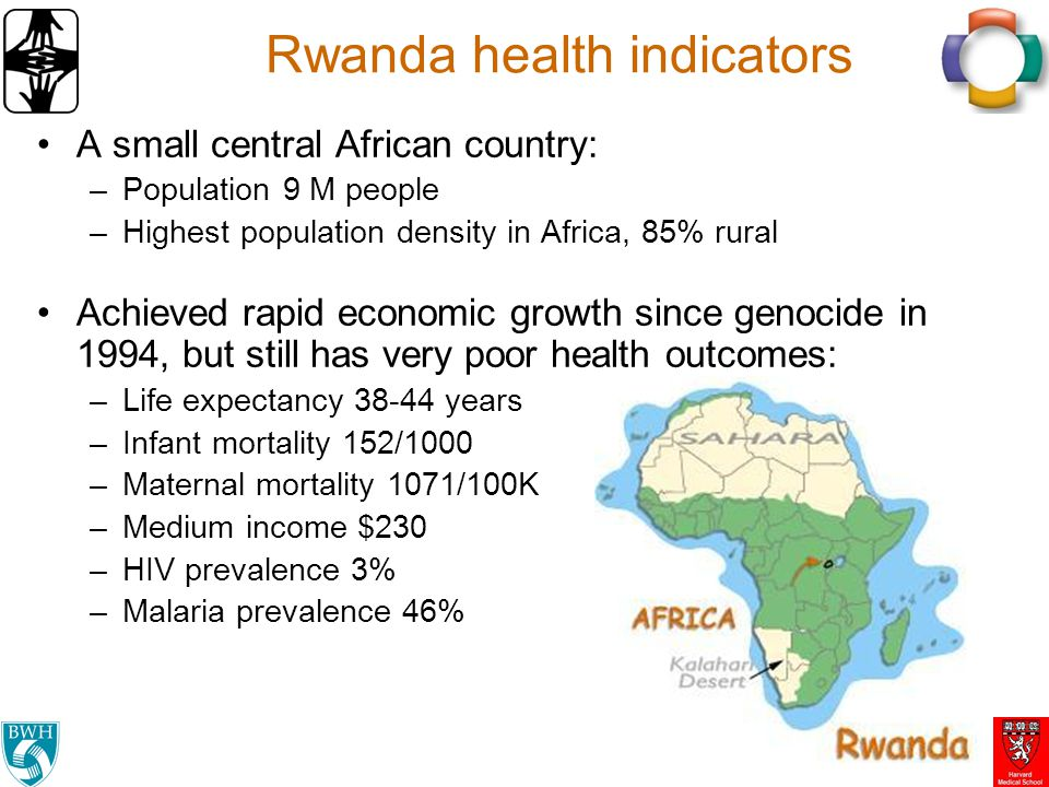 Rwanda health indicators A small central African country: –Population 9 M people –Highest population density in Africa, 85% rural Achieved rapid econo