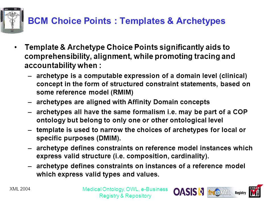XML 2004 Medical Ontology, OWL, e-Business Registry & Repository BCM Choice Points : Templates & Archetypes Template & Archetype Choice Points signifi