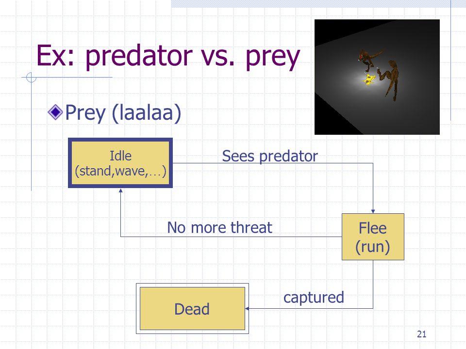 21 Ex: predator vs. prey Prey (laalaa) Idle (stand,wave, … ) Flee (run) Sees predator No more threat captured Dead