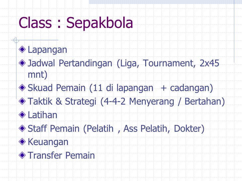 Class : Sepakbola Lapangan Jadwal Pertandingan (Liga, Tournament, 2x45 mnt) Skuad Pemain (11 di lapangan + cadangan) Taktik & Strategi (4-4-2 Menyeran