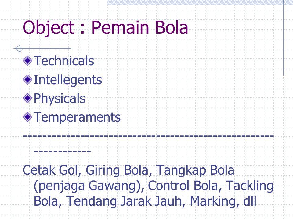 Object : Pemain Bola Technicals Intellegents Physicals Temperaments ----------------------------------------------------- ------------ Cetak Gol, Giri