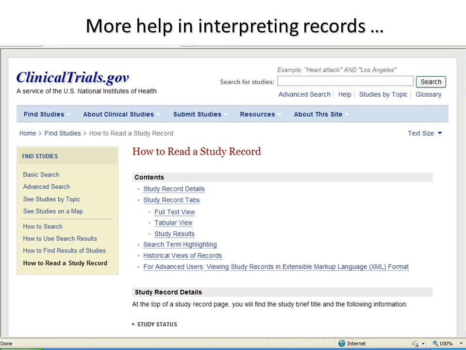 More help in interpreting records …