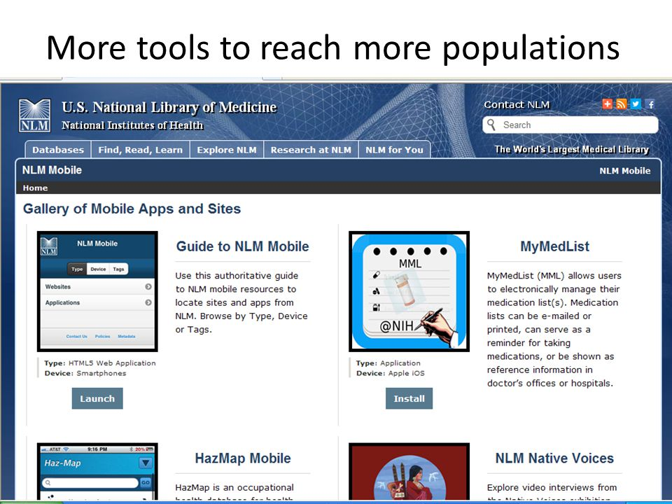 More tools to reach more populations