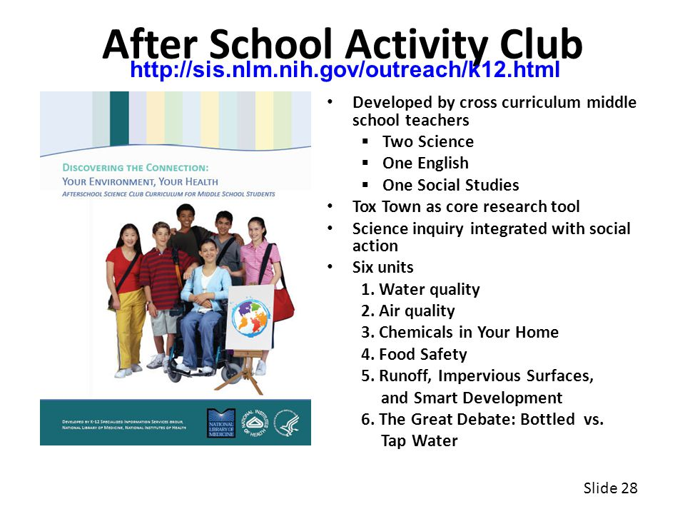 After School Activity Club Developed by cross curriculum middle school teachers  Two Science  One English  One Social Studies Tox Town as core research tool Science inquiry integrated with social action Six units 1.