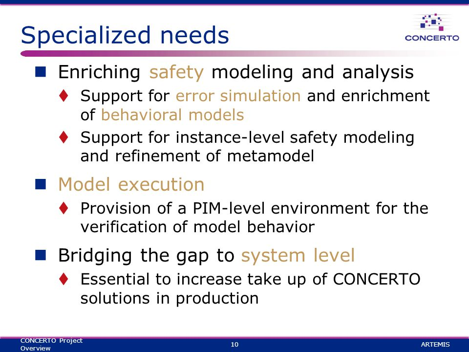 Specialized needs Enriching safety modeling and analysis  Support for error simulation and enrichment of behavioral models  Support for instance-level safety modeling and refinement of metamodel Model execution  Provision of a PIM-level environment for the verification of model behavior Bridging the gap to system level  Essential to increase take up of CONCERTO solutions in production ARTEMIS10 CONCERTO Project Overview