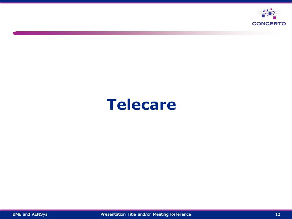 Telecare 12Presentation Title and/or Meeting ReferenceBME and AENSys