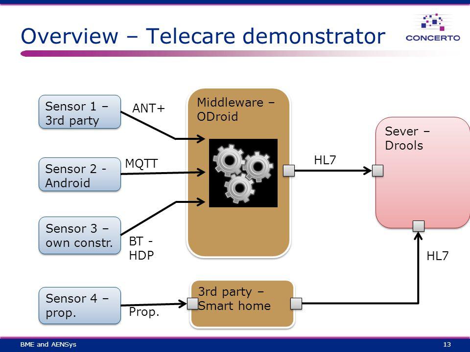 Overview – Telecare demonstrator 13 Sensor 1 – 3rd party Sensor 2 - Android Sensor 3 – own constr.