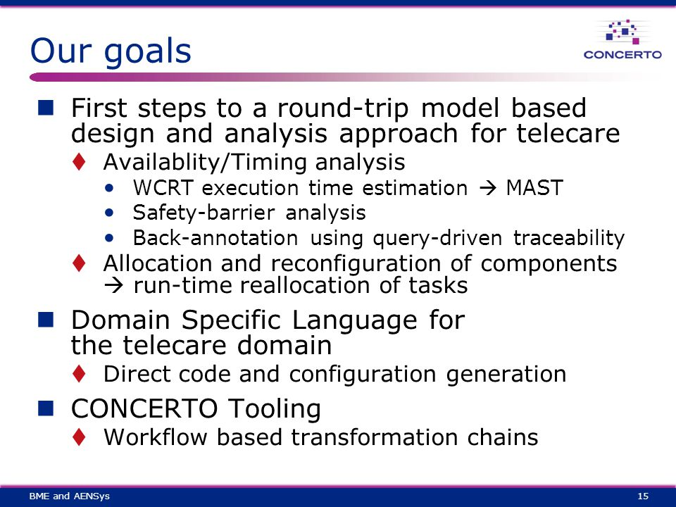 Our goals First steps to a round-trip model based design and analysis approach for telecare  Availablity/Timing analysis WCRT execution time estimation  MAST Safety-barrier analysis Back-annotation using query-driven traceability  Allocation and reconfiguration of components  run-time reallocation of tasks Domain Specific Language for the telecare domain  Direct code and configuration generation CONCERTO Tooling  Workflow based transformation chains 15BME and AENSys