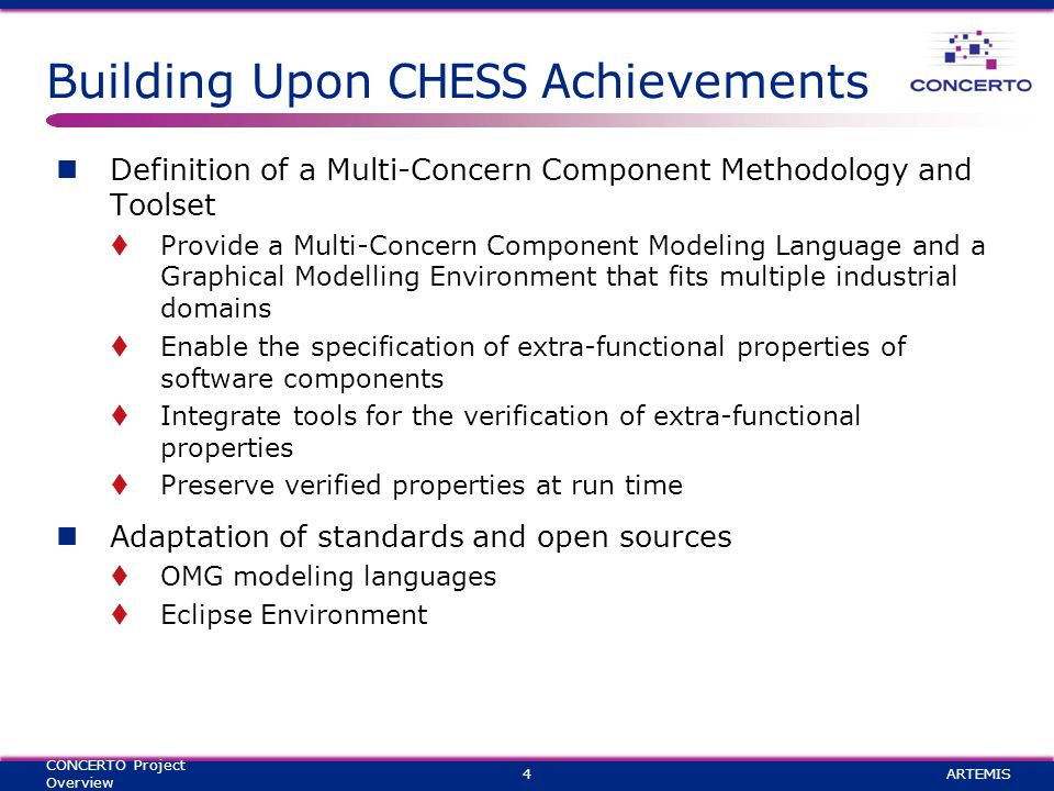 Building Upon CHESS A chievements Definition of a Multi-Concern Component Methodology and Toolset  Provide a Multi-Concern Component Modeling Language and a Graphical Modelling Environment that fits multiple industrial domains  Enable the specification of extra-functional properties of software components  Integrate tools for the verification of extra-functional properties  Preserve verified properties at run time Adaptation of standards and open sources  OMG modeling languages  Eclipse Environment ARTEMIS4 CONCERTO Project Overview