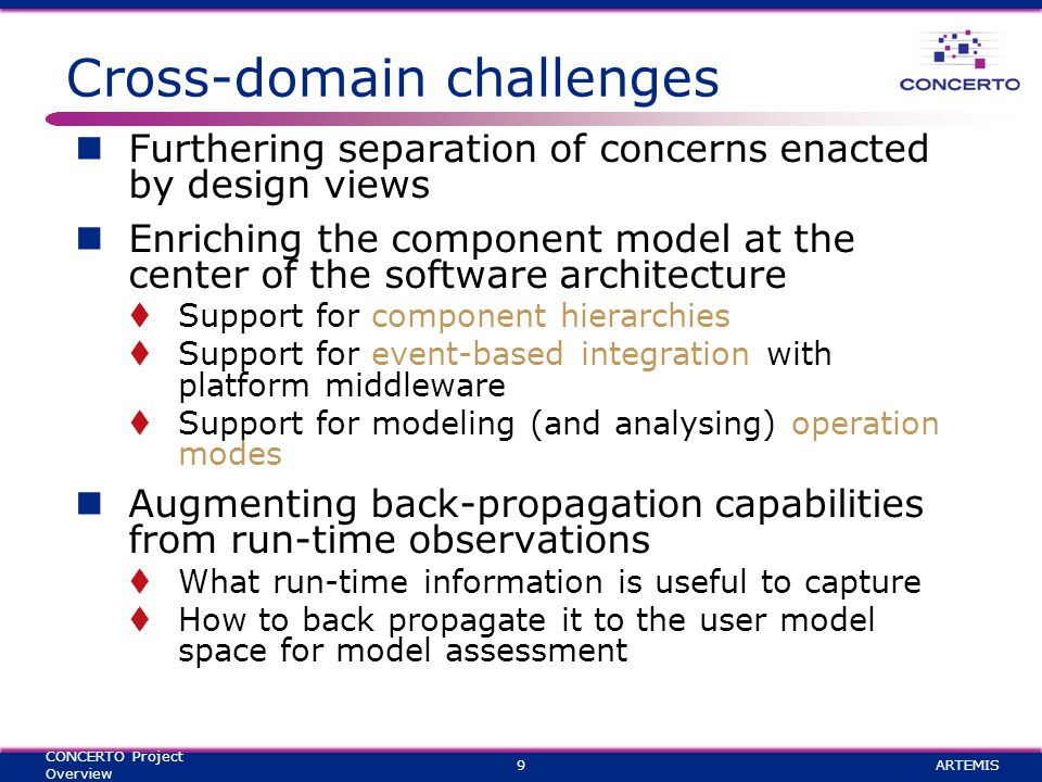 Cross-domain challenges Furthering separation of concerns enacted by design views Enriching the component model at the center of the software architecture  Support for component hierarchies  Support for event-based integration with platform middleware  Support for modeling (and analysing) operation modes Augmenting back-propagation capabilities from run-time observations  What run-time information is useful to capture  How to back propagate it to the user model space for model assessment ARTEMIS9 CONCERTO Project Overview