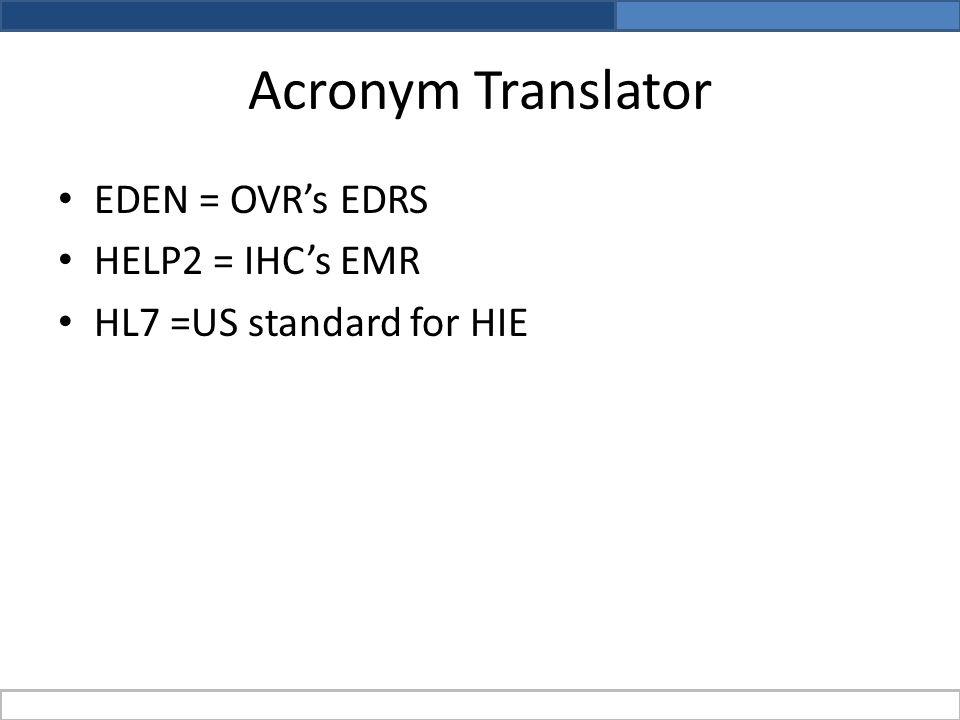 Acronym Translator EDEN = OVR's EDRS HELP2 = IHC's EMR HL7 =US standard for HIE