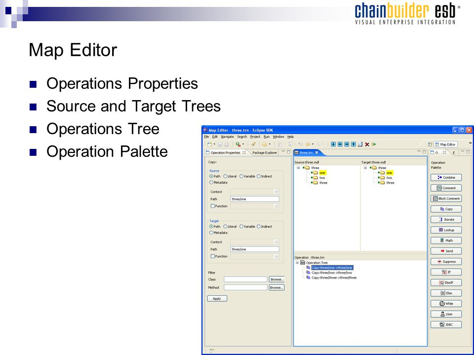 Map Editor Operations Properties Source and Target Trees Operations Tree Operation Palette