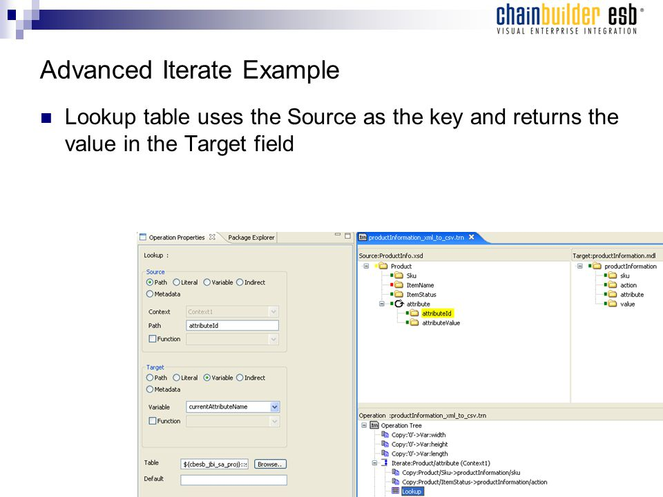 Advanced Iterate Example Lookup table uses the Source as the key and returns the value in the Target field