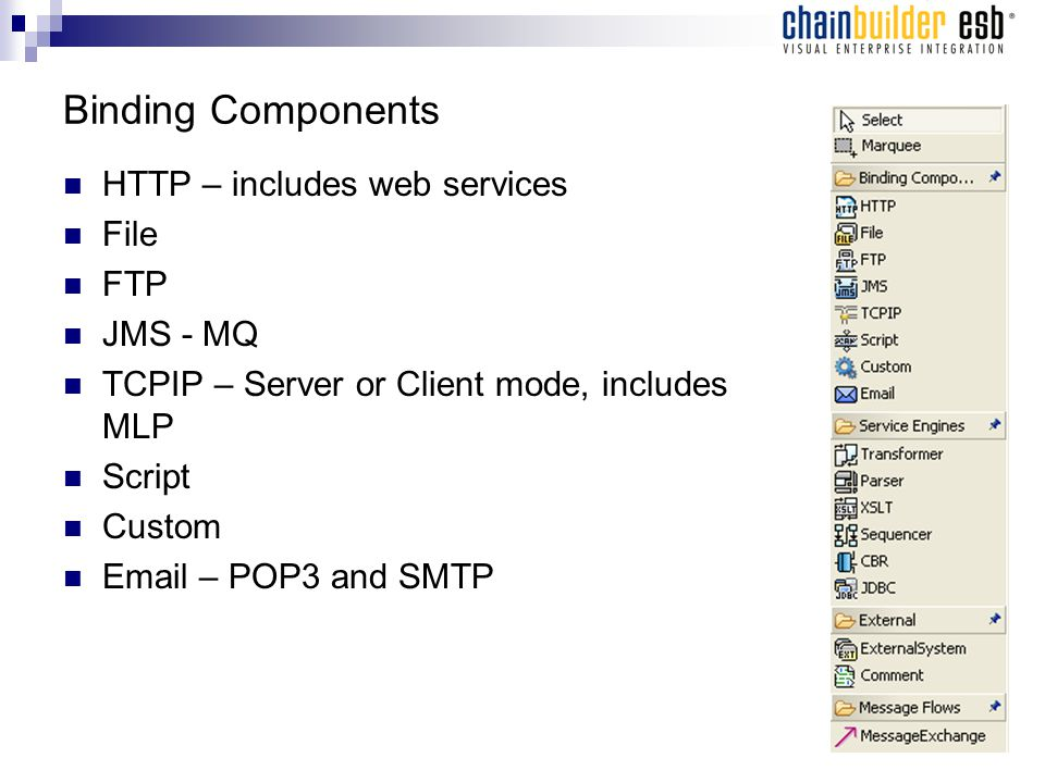 Binding Components HTTP – includes web services File FTP JMS - MQ TCPIP – Server or Client mode, includes MLP Script Custom Email – POP3 and SMTP