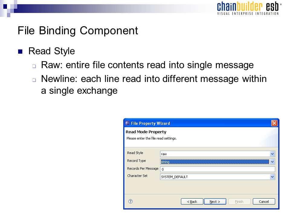 File Binding Component Read Style  Raw: entire file contents read into single message  Newline: each line read into different message within a single exchange