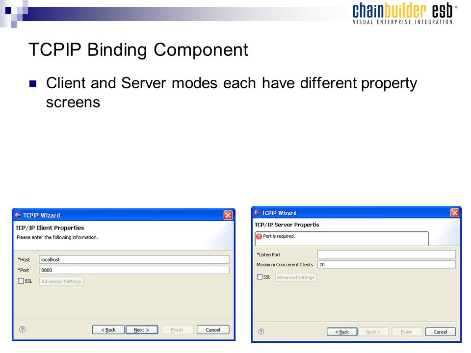 TCPIP Binding Component Client and Server modes each have different property screens